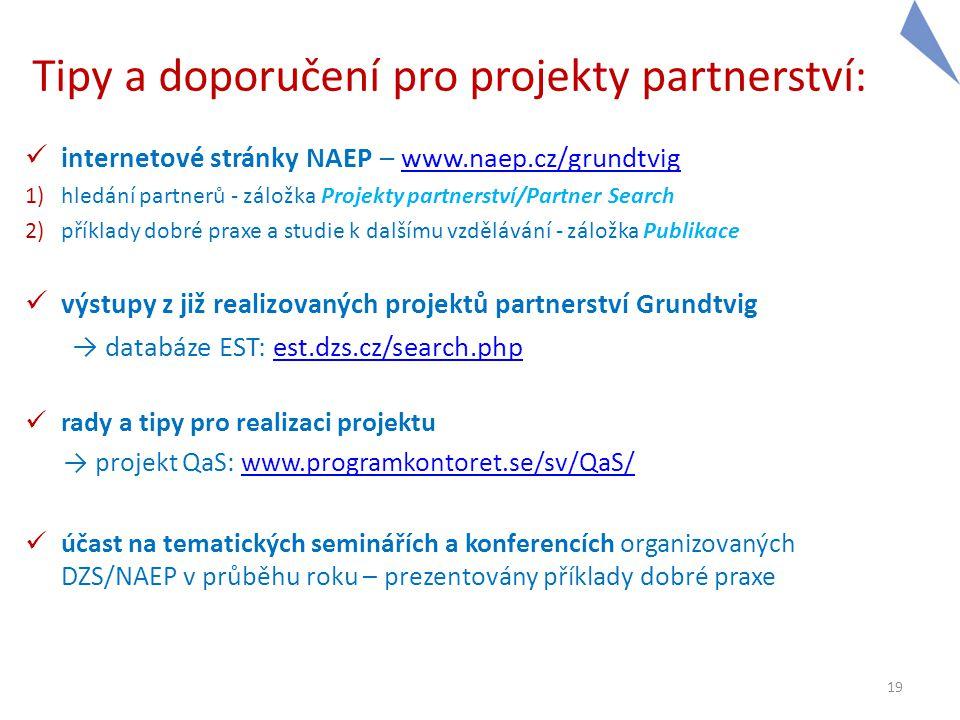Tipy a doporučení pro projekty partnerství:  internetové stránky NAEP – www.naep.cz/grundtvigwww.naep.cz/grundtvig 1)hledání partnerů - záložka Proje