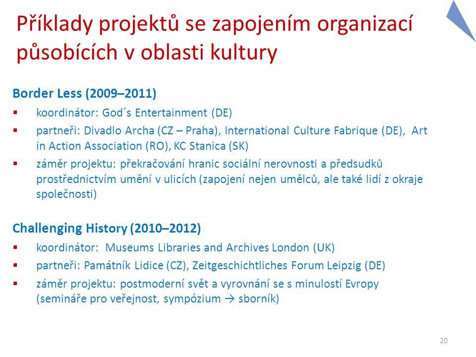 Příklady projektů se zapojením organizací působících v oblasti kultury Border Less (2009–2011)  koordinátor: God´s Entertainment (DE)  partneři: Div