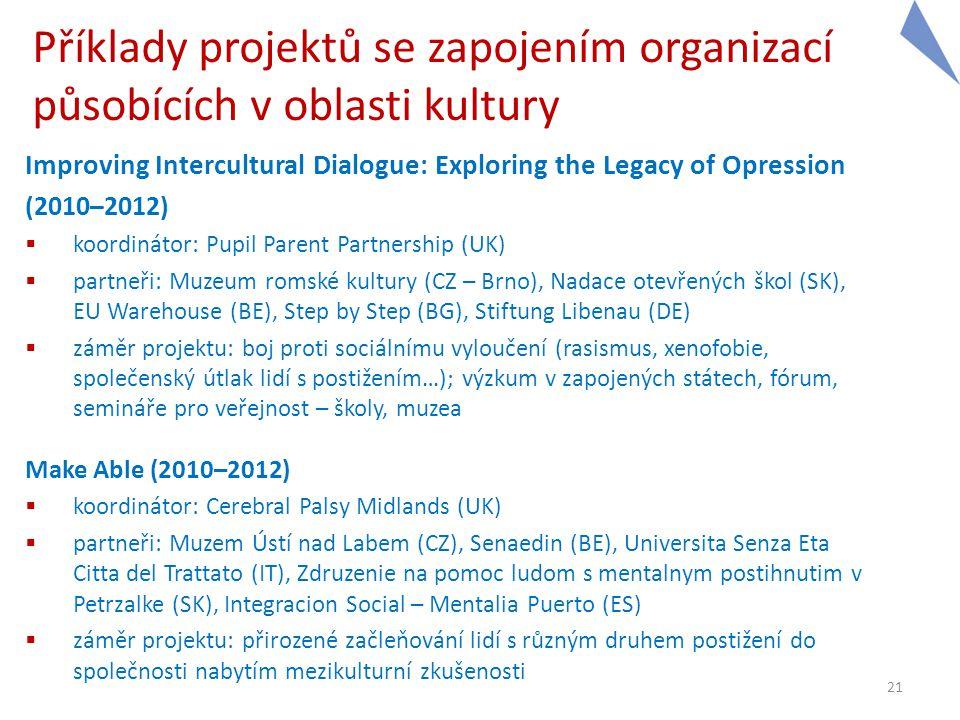 Příklady projektů se zapojením organizací působících v oblasti kultury Improving Intercultural Dialogue: Exploring the Legacy of Opression (2010–2012)