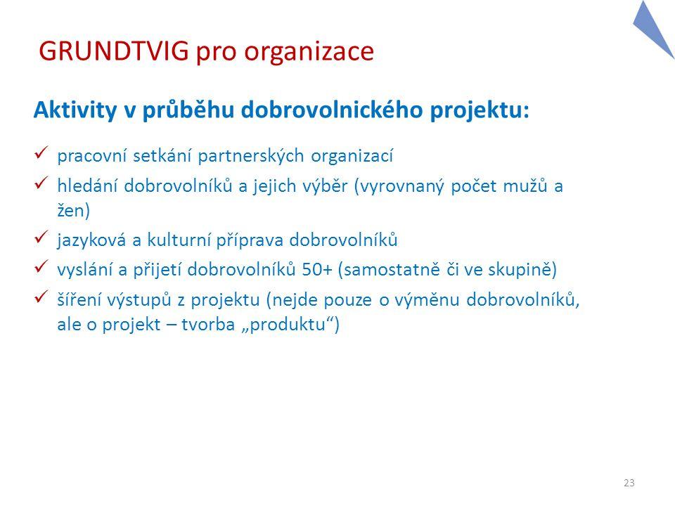 23 GRUNDTVIG pro organizace Aktivity v průběhu dobrovolnického projektu:  pracovní setkání partnerských organizací  hledání dobrovolníků a jejich vý