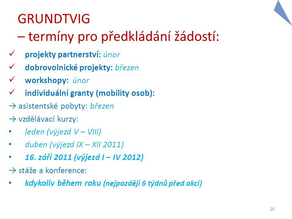 GRUNDTVIG – termíny pro předkládání žádostí:  projekty partnerství: únor  dobrovolnické projekty: březen  workshopy: únor  individuální granty (mo