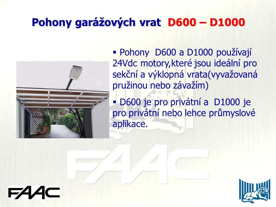 Pohony garážových vrat D600 – D1000  Pohony D600 a D1000 používají 24Vdc motory,které jsou ideální pro sekční a výklopná vrata(vyvažovaná pružinou ne