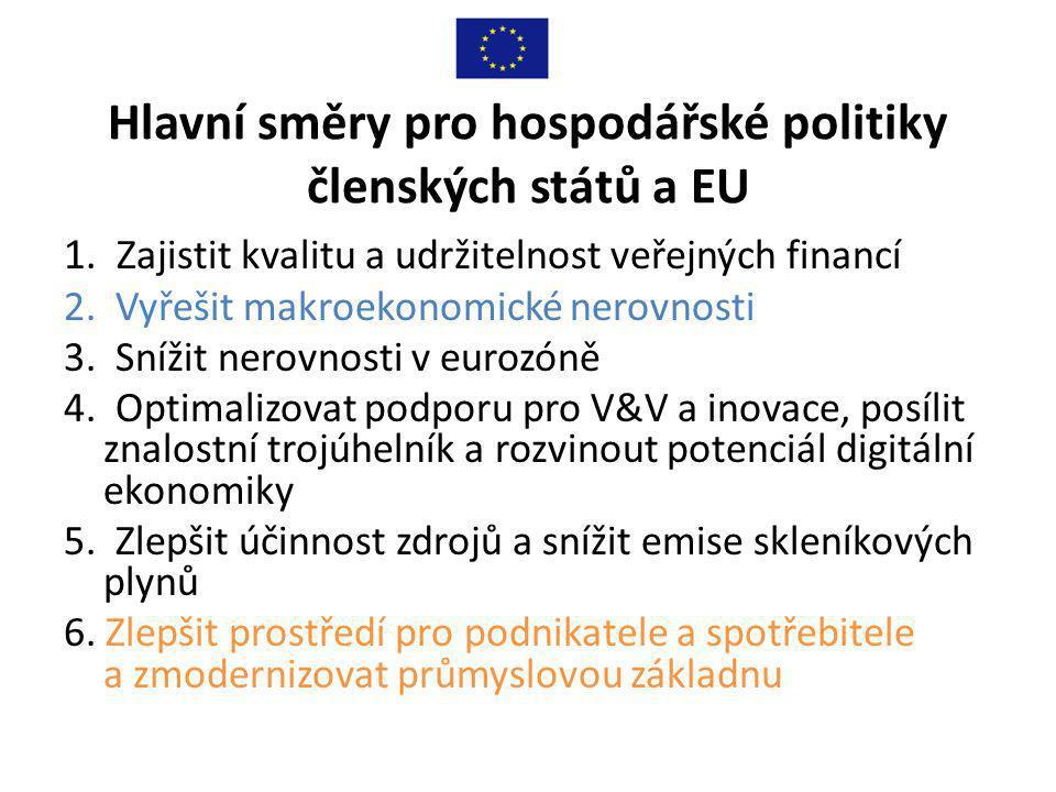 Hlavní směry pro hospodářské politiky členských států a EU 1.