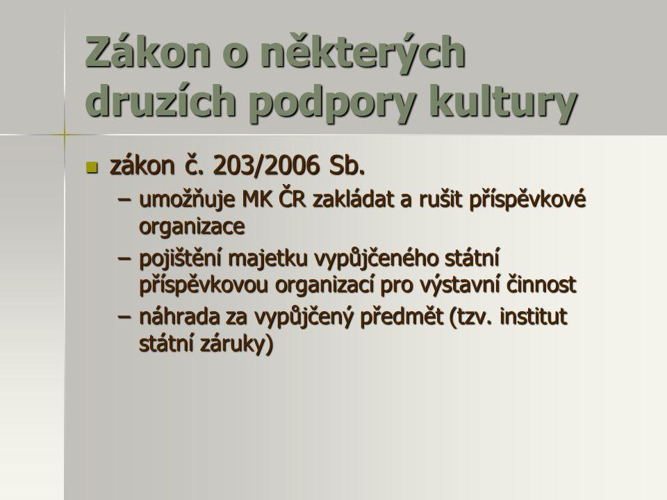 Zákon o některých druzích podpory kultury  zákon č. 203/2006 Sb. –umožňuje MK ČR zakládat a rušit příspěvkové organizace –pojištění majetku vypůjčené