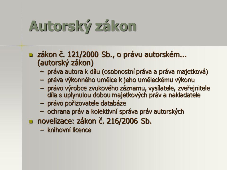 Autorský zákon  zákon č. 121/2000 Sb., o právu autorském... (autorský zákon) –práva autora k dílu (osobnostní práva a práva majetková) –práva výkonné