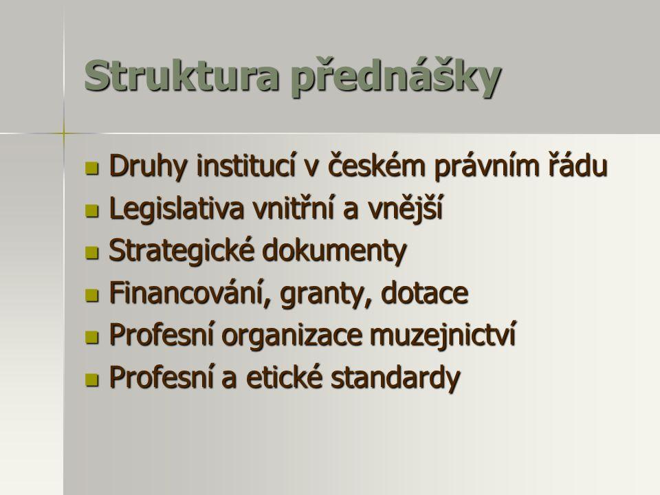 Struktura přednášky  Druhy institucí v českém právním řádu  Legislativa vnitřní a vnější  Strategické dokumenty  Financování, granty, dotace  Pro