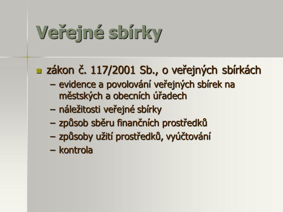 Veřejné sbírky  zákon č. 117/2001 Sb., o veřejných sbírkách –evidence a povolování veřejných sbírek na městských a obecních úřadech –náležitosti veře