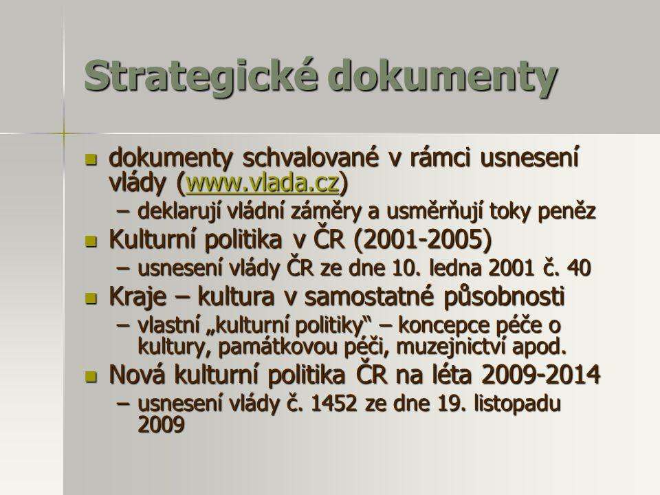 Strategické dokumenty  dokumenty schvalované v rámci usnesení vlády (www.vlada.cz) www.vlada.cz –deklarují vládní záměry a usměrňují toky peněz  Kul