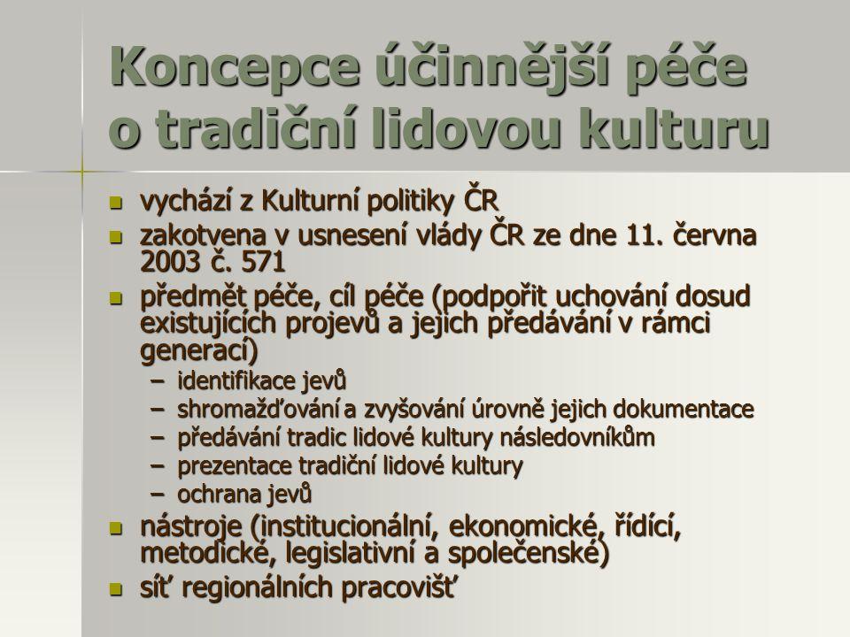 Koncepce účinnější péče o tradiční lidovou kulturu  vychází z Kulturní politiky ČR  zakotvena v usnesení vlády ČR ze dne 11. června 2003 č. 571  př