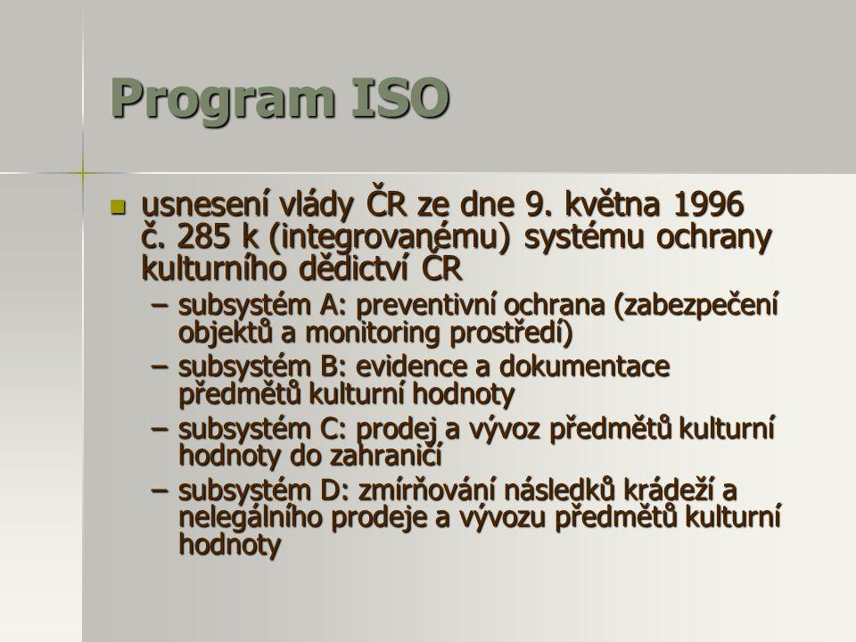 Program ISO  usnesení vlády ČR ze dne 9. května 1996 č. 285 k (integrovanému) systému ochrany kulturního dědictví ČR –subsystém A: preventivní ochran