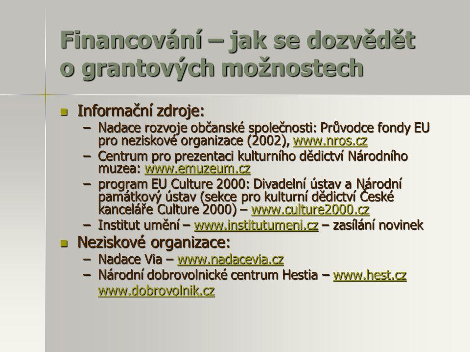 Financování – jak se dozvědět o grantových možnostech  Informační zdroje: –Nadace rozvoje občanské společnosti: Průvodce fondy EU pro neziskové organ