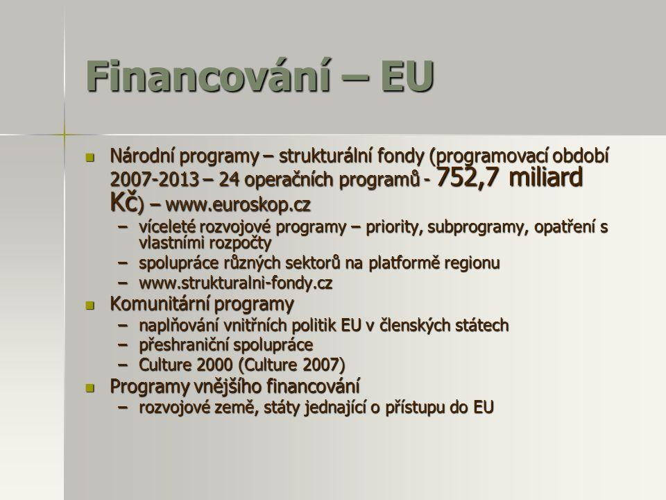 Financování – EU  Národní programy – strukturální fondy (programovací období 2007-2013 – 24 operačních programů - 752,7 miliard Kč ) – www.euroskop.c