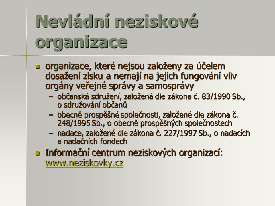 Nevládní neziskové organizace  organizace, které nejsou založeny za účelem dosažení zisku a nemají na jejich fungování vliv orgány veřejné správy a s