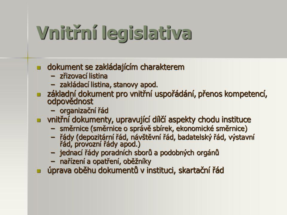 Vnitřní legislativa  dokument se zakládajícím charakterem –zřizovací listina –zakládací listina, stanovy apod.  základní dokument pro vnitřní uspořá