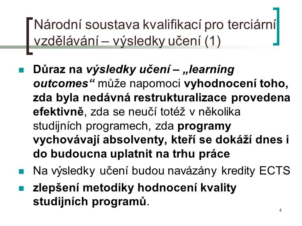 """4 Národní soustava kvalifikací pro terciární vzdělávání – výsledky učení (1)  Důraz na výsledky učení – """"learning outcomes"""" může napomoci vyhodnocení"""