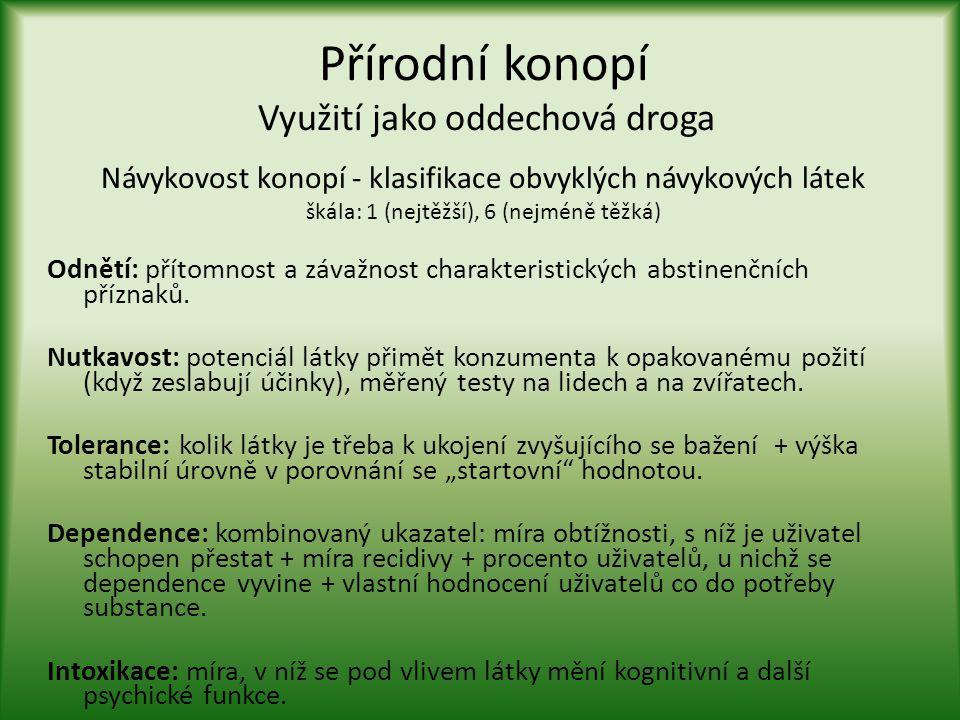 Přírodní konopí Využití jako oddechová droga Návykovost konopí - klasifikace obvyklých návykových látek škála: 1 (nejtěžší), 6 (nejméně těžká) Odnětí: