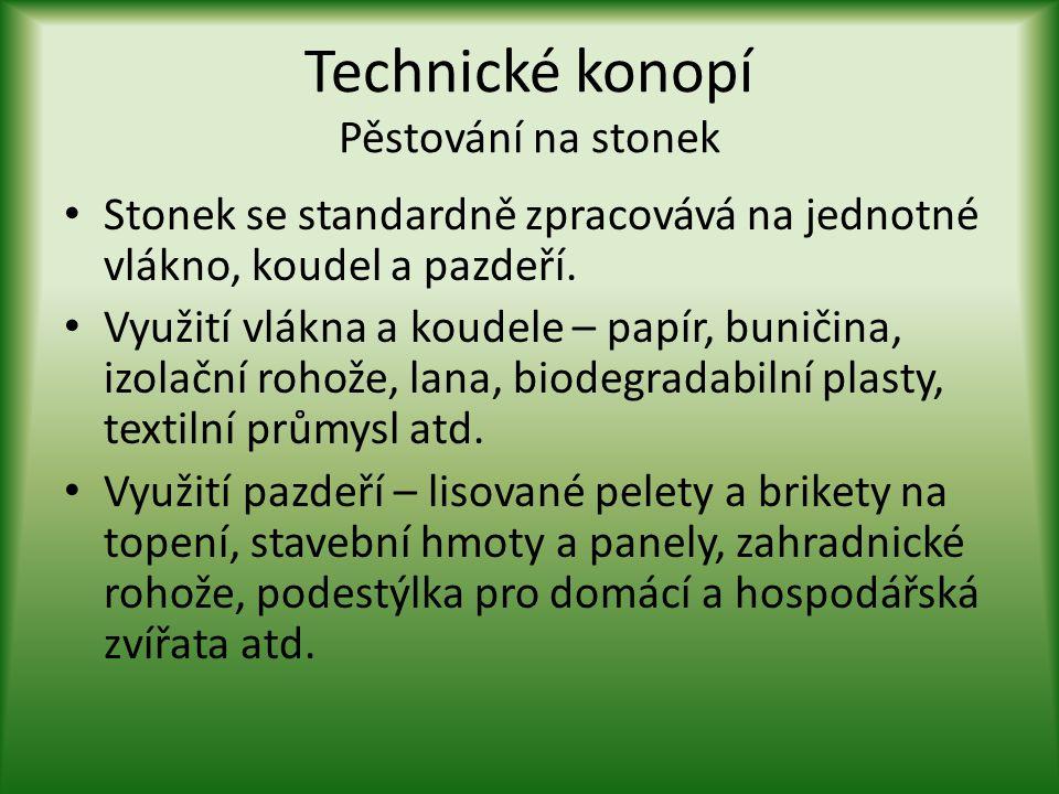 Technické konopí Pěstování na stonek • Stonek se standardně zpracovává na jednotné vlákno, koudel a pazdeří. • Využití vlákna a koudele – papír, bunič