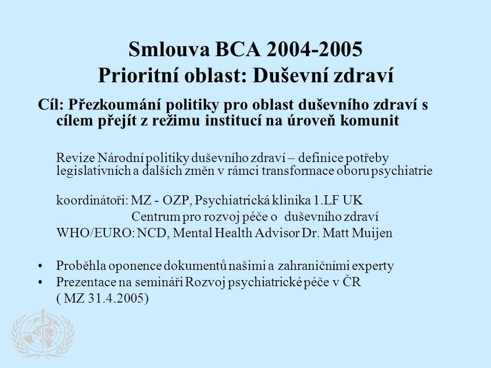 Smlouva BCA 2004-2005 Prioritní oblast: Duševní zdraví Cíl: Přezkoumání politiky pro oblast duševního zdraví s cílem přejít z režimu institucí na úrov