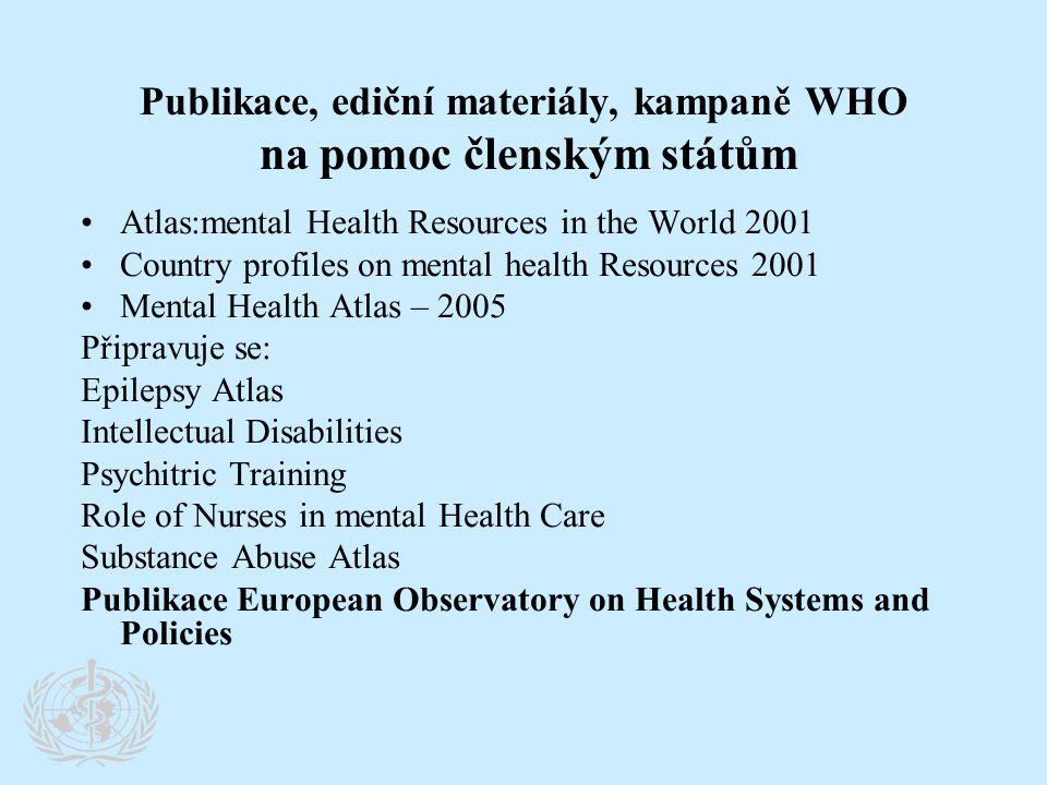 Publikace, ediční materiály, kampaně WHO na pomoc členským státům •Atlas:mental Health Resources in the World 2001 •Country profiles on mental health