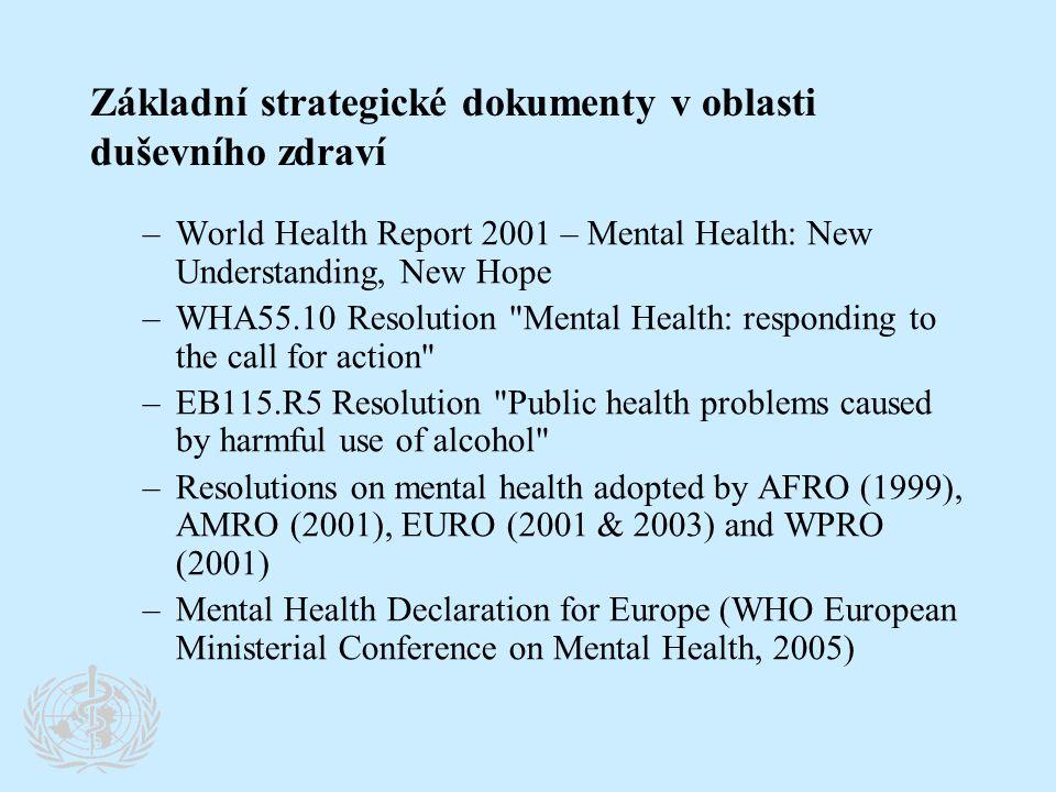 Klíčové rezoluce a strategie WHO přijímané na WHA, RC, ministerských konferencích •Rámcová úmluva o kontrole tabáku (FCTC) •Globální strategie zaměřená na výživu, fyzickou aktivitu a zdraví •Akční plán proti alkoholu •Strategie životní prostředí a zdraví dětí •Deklarace o duševním zdraví pro Evropu