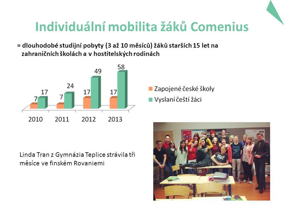 Individuální mobilita žáků Comenius Linda Tran z Gymnázia Teplice strávila tři měsíce ve finském Rovaniemi = dlouhodobé studijní pobyty (3 až 10 měsíců) žáků starších 15 let na zahraničních školách a v hostitelských rodinách
