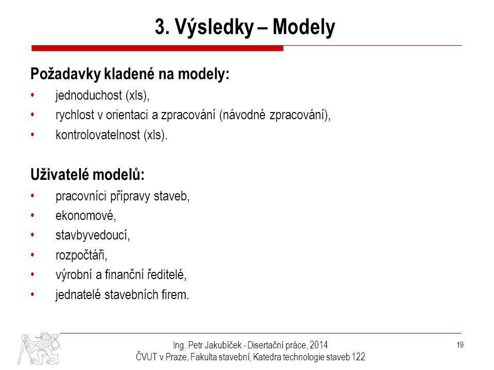 Ing. Petr Jakubíček - Disertační práce, 2014 ČVUT v Praze, Fakulta stavební, Katedra technologie staveb 122 19 Požadavky kladené na modely: •jednoduch