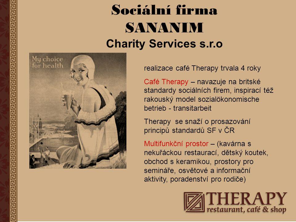 """Sociální firma SANANIM Výsledky, výstupy, co se daří a co ne… za 6 let existence ANO Dosud jsme zaměstnali cca 60 klientů, více jak 80% žije nyní standardně, pracuje (v Therapy rekvalifikace, posílení změny životního stylu, reference do dalšího zaměstnání) Stabilizovaný profi personál - + v podnikání, ve vztahu ke klientům NE Finanční samostatnost, bez zdrojů ESF je Therapy v posledních 2 letech v červených číslech (krize, jsme příliš multifunkční, doplácíme na to, že se neorientujeme na určitou """"klientelu ) Spolupráce s veřejnou správou – SF není v """"zorném úhlu"""