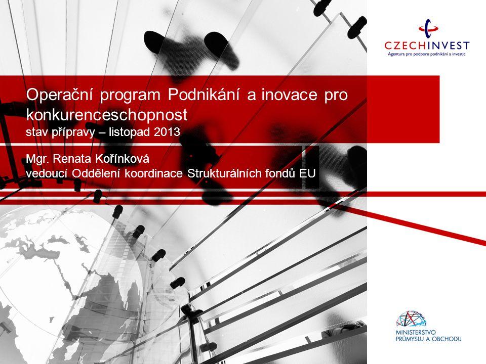 Operační program Podnikání a inovace pro konkurenceschopnost stav přípravy – listopad 2013 Mgr. Renata Kořínková vedoucí Oddělení koordinace Strukturá