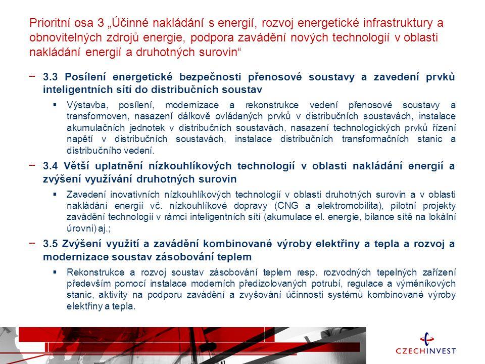 """Prioritní osa 3 """"Účinné nakládání s energií, rozvoj energetické infrastruktury a obnovitelných zdrojů energie, podpora zavádění nových technologií v oblasti nakládání energií a druhotných surovin 3.3 Posílení energetické bezpečnosti přenosové soustavy a zavedení prvků inteligentních sítí do distribučních soustav  Výstavba, posílení, modernizace a rekonstrukce vedení přenosové soustavy a transformoven, nasazení dálkově ovládaných prvků v distribučních soustavách, instalace akumulačních jednotek v distribučních soustavách, nasazení technologických prvků řízení napětí v distribučních soustavách, instalace distribučních transformačních stanic a distribučního vedení."""