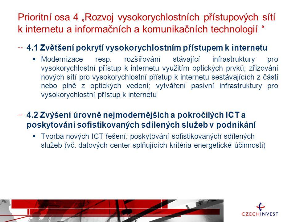 """Prioritní osa 4 """"Rozvoj vysokorychlostních přístupových sítí k internetu a informačních a komunikačních technologií 4.1 Zvětšení pokrytí vysokorychlostním přístupem k internetu  Modernizace resp."""