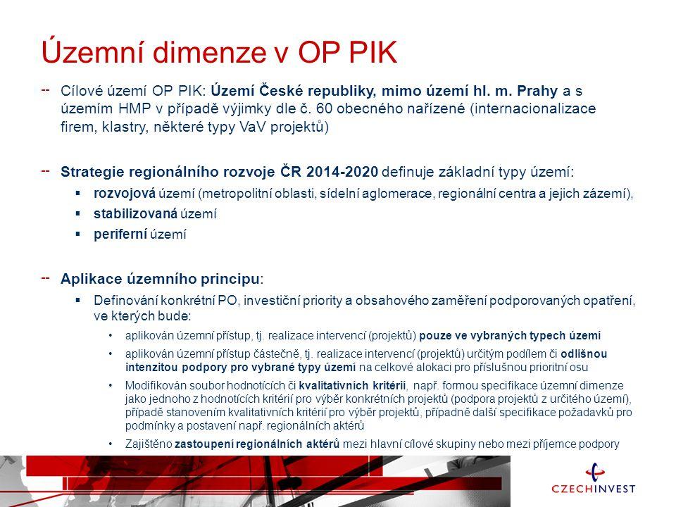 Územní dimenze v OP PIK Cílové území OP PIK: Území České republiky, mimo území hl.