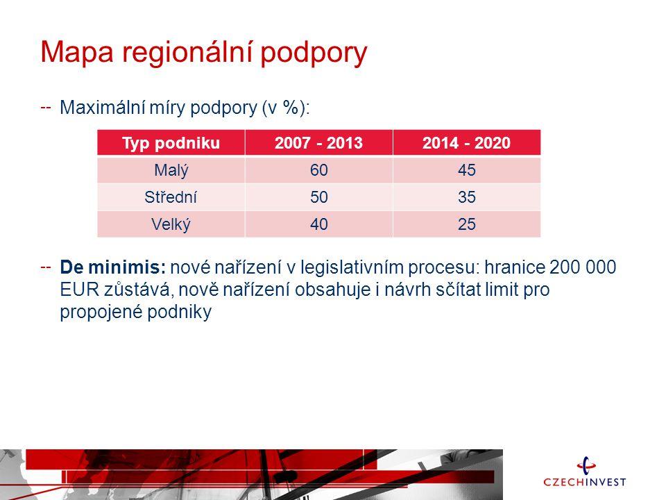 Mapa regionální podpory Maximální míry podpory (v %): De minimis: nové nařízení v legislativním procesu: hranice 200 000 EUR zůstává, nově nařízení obsahuje i návrh sčítat limit pro propojené podniky Typ podniku2007 - 20132014 - 2020 Malý6045 Střední5035 Velký4025
