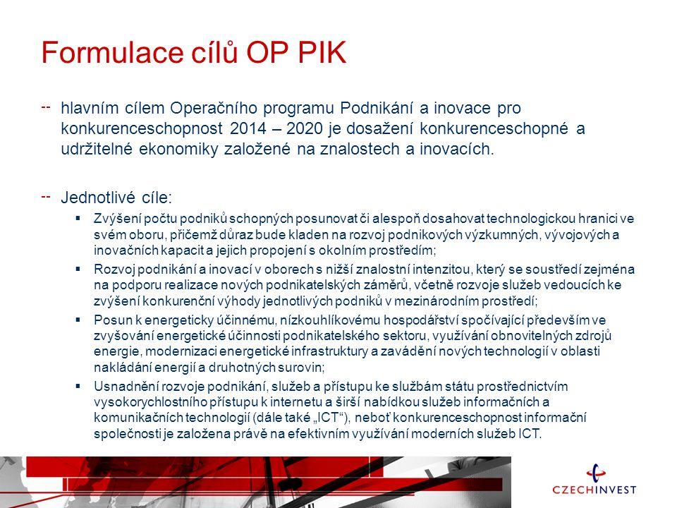 Formulace cílů OP PIK hlavním cílem Operačního programu Podnikání a inovace pro konkurenceschopnost 2014 – 2020 je dosažení konkurenceschopné a udržitelné ekonomiky založené na znalostech a inovacích.