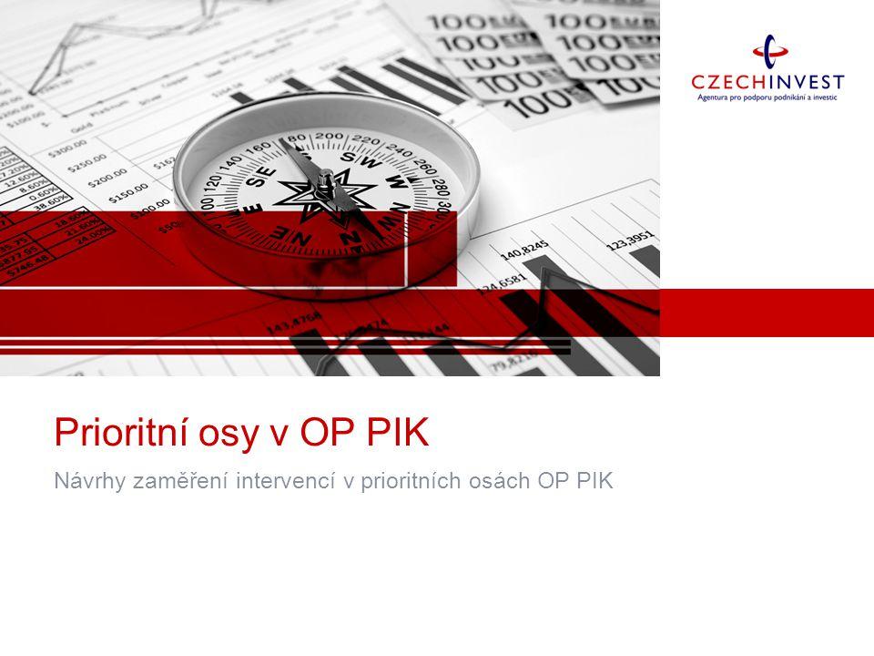 Prioritní osy v OP PIK Návrhy zaměření intervencí v prioritních osách OP PIK