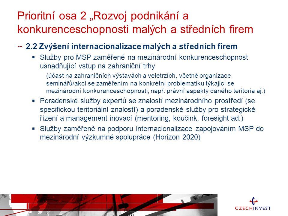 """Prioritní osa 2 """"Rozvoj podnikání a konkurenceschopnosti malých a středních firem 2.2 Zvýšení internacionalizace malých a středních firem  Služby pro MSP zaměřené na mezinárodní konkurenceschopnost usnadňující vstup na zahraniční trhy (účast na zahraničních výstavách a veletrzích, včetně organizace seminářů/akcí se zaměřením na konkrétní problematiku týkající se mezinárodní konkurenceschopnosti, např."""