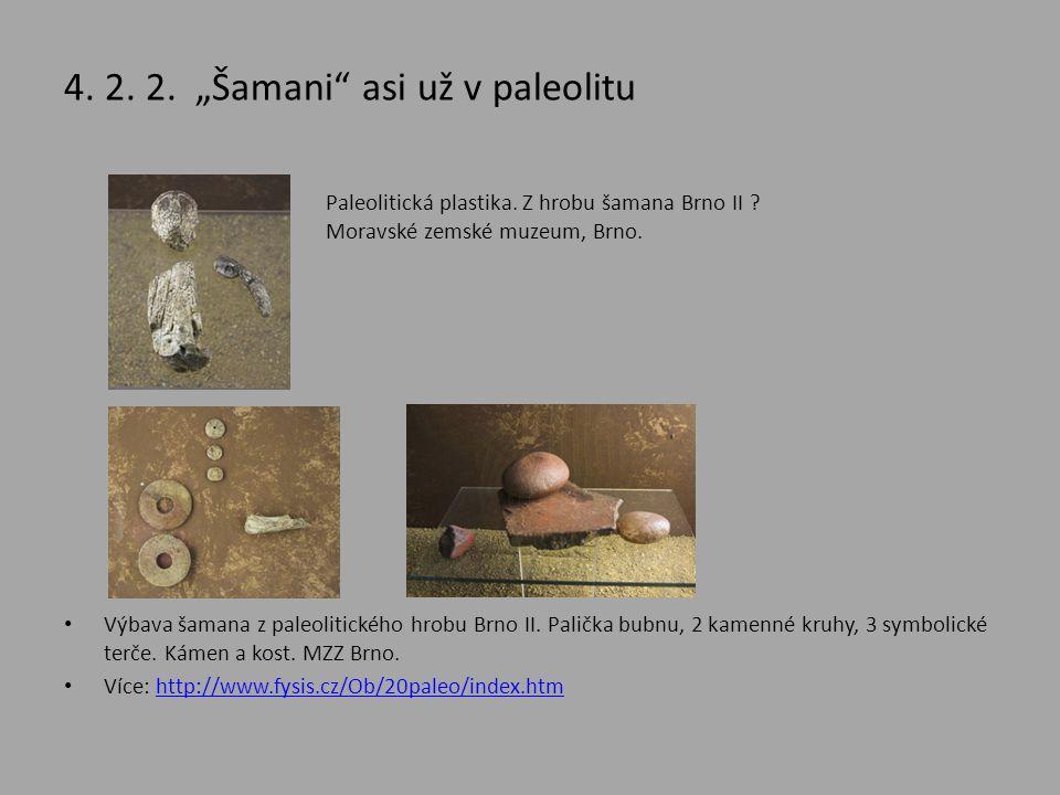 """4. 2. 2. """"Šamani"""" asi už v paleolitu • Výbava šamana z paleolitického hrobu Brno II. Palička bubnu, 2 kamenné kruhy, 3 symbolické terče. Kámen a kost."""