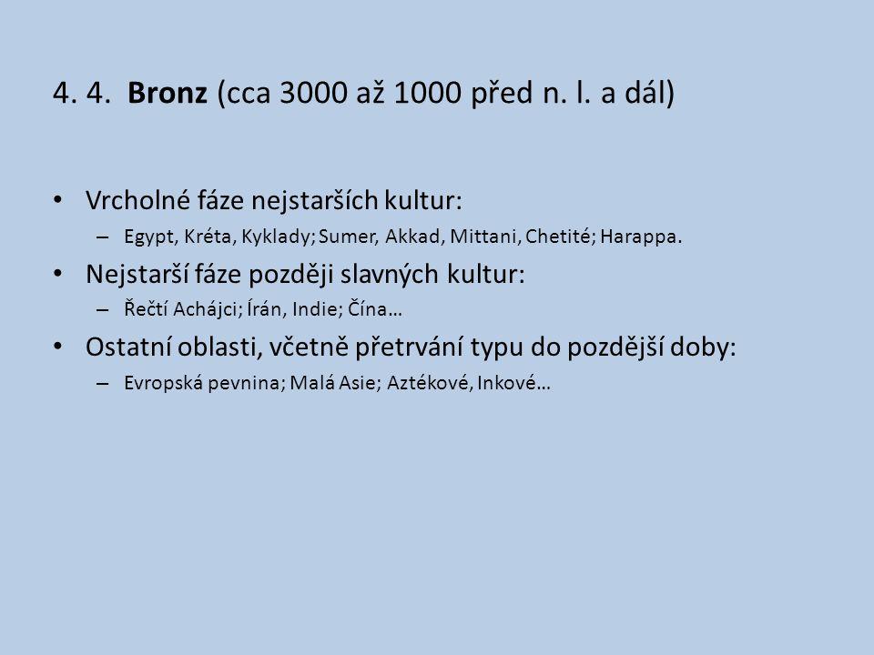 4. 4. Bronz (cca 3000 až 1000 před n. l. a dál) • Vrcholné fáze nejstarších kultur: – Egypt, Kréta, Kyklady; Sumer, Akkad, Mittani, Chetité; Harappa.