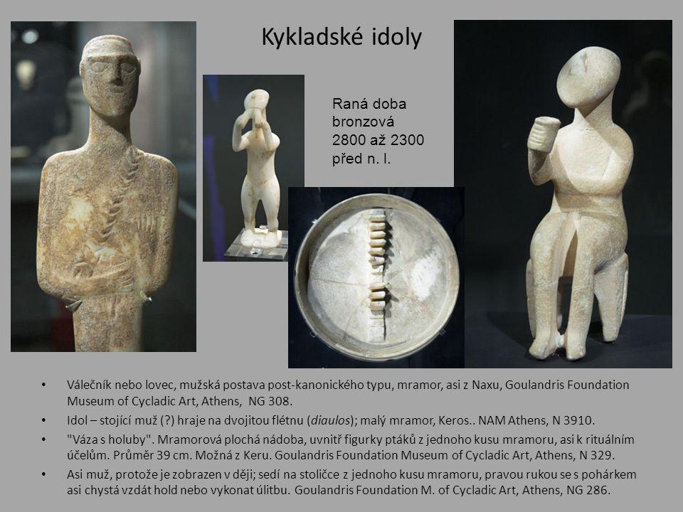 Kykladské idoly • Válečník nebo lovec, mužská postava post-kanonického typu, mramor, asi z Naxu, Goulandris Foundation Museum of Cycladic Art, Athens,