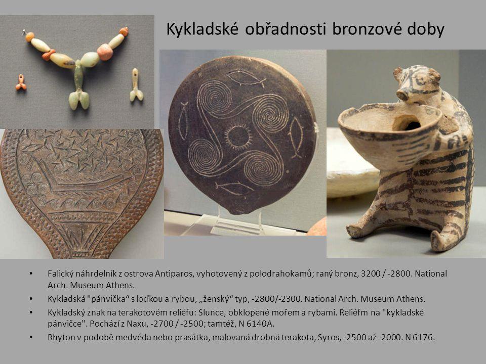 Kykladské obřadnosti bronzové doby • Falický náhrdelník z ostrova Antiparos, vyhotovený z polodrahokamů; raný bronz, 3200 / -2800. National Arch. Muse
