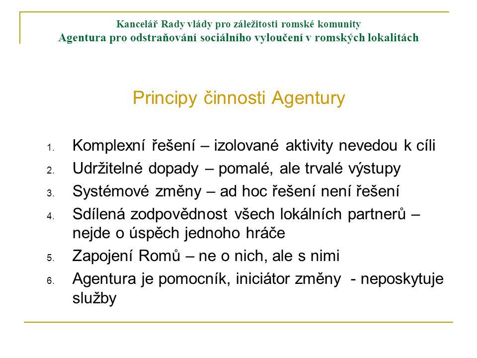 Kancelář Rady vlády pro záležitosti romské komunity Agentura pro odstraňování sociálního vyloučení v romských lokalitách Principy činnosti Agentury 1.