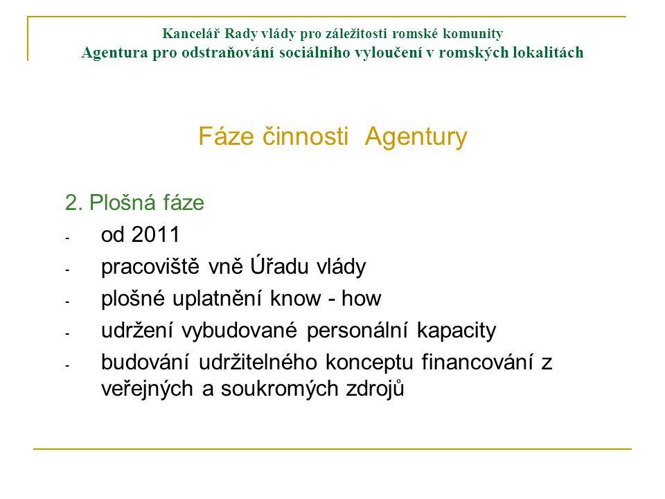Kancelář Rady vlády pro záležitosti romské komunity Agentura pro odstraňování sociálního vyloučení v romských lokalitách Fáze činnosti Agentury 2.