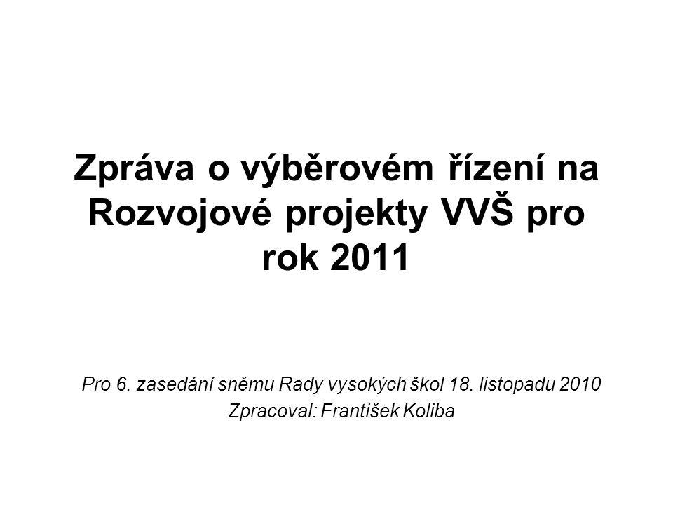Rozvojové projekty VVŠ pro rok 2011 Zasedání Rady programů zaměřené na výběrové řízení rozvojových projektů VVŠ pro rok 2011 proběhlo v termínu 3.