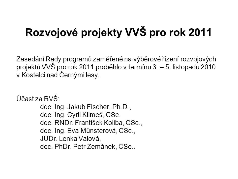 Rozvojové projekty VVŠ pro rok 2011 Zasedání Rady programů zaměřené na výběrové řízení rozvojových projektů VVŠ pro rok 2011 proběhlo v termínu 3. – 5