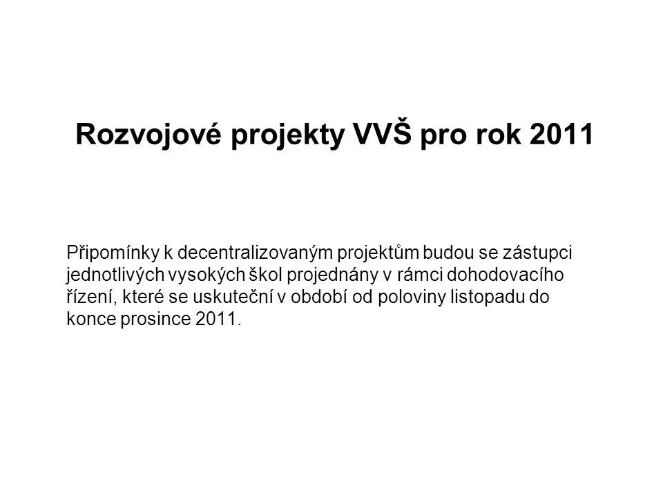 Rozvojové projekty VVŠ pro rok 2011 Připomínky k decentralizovaným projektům budou se zástupci jednotlivých vysokých škol projednány v rámci dohodovac