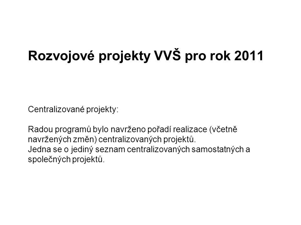 Rozvojové projekty VVŠ pro rok 2011 Centralizované projekty: Radou programů bylo navrženo pořadí realizace (včetně navržených změn) centralizovaných p