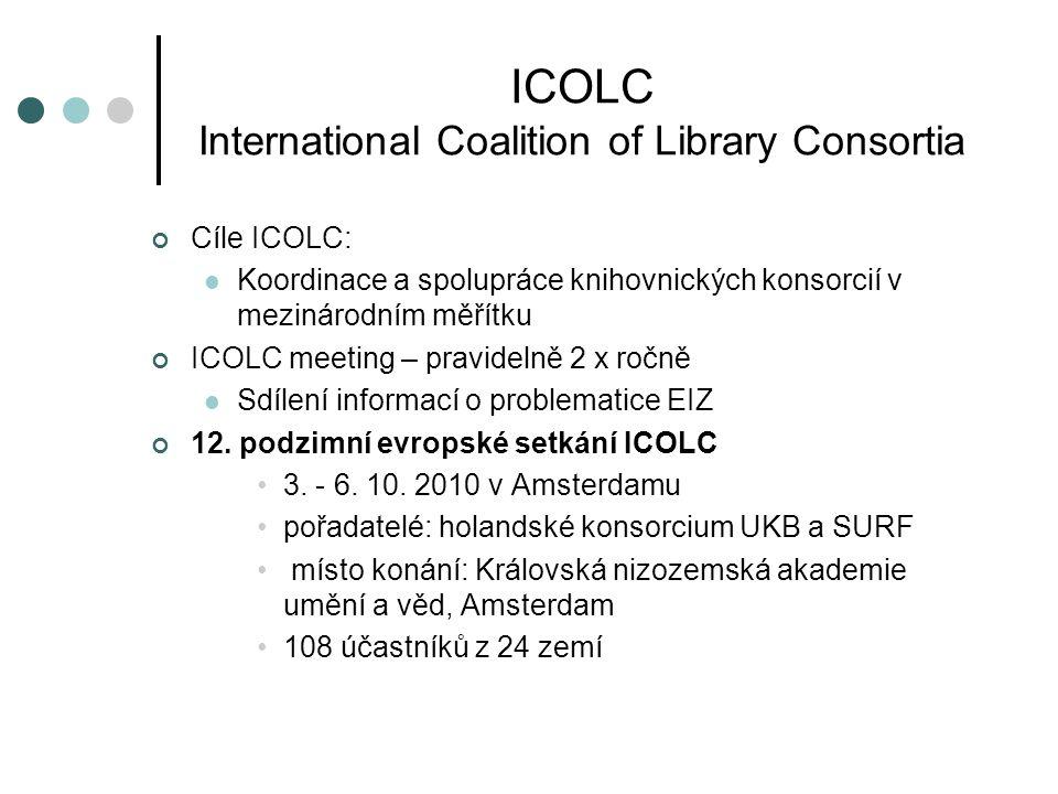 ICOLC International Coalition of Library Consortia Cíle ICOLC:  Koordinace a spolupráce knihovnických konsorcií v mezinárodním měřítku ICOLC meeting – pravidelně 2 x ročně  Sdílení informací o problematice EIZ 12.