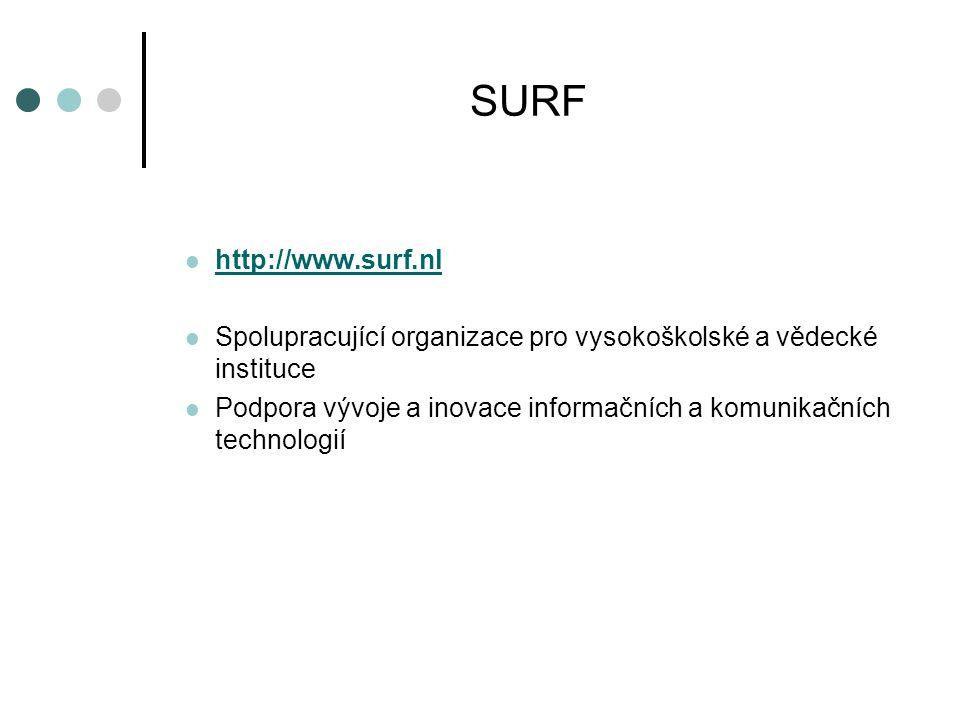SURF  http://www.surf.nl http://www.surf.nl  Spolupracující organizace pro vysokoškolské a vědecké instituce  Podpora vývoje a inovace informačních a komunikačních technologií