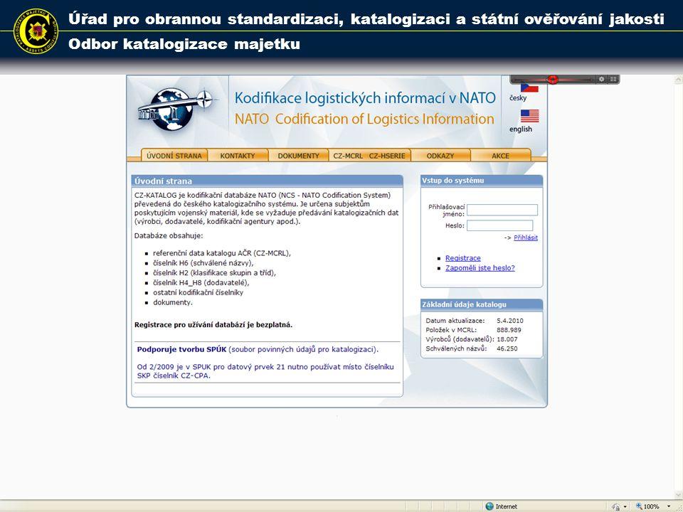 Úřad pro obrannou standardizaci, katalogizaci a státní ověřování jakosti Odbor katalogizace majetku 13