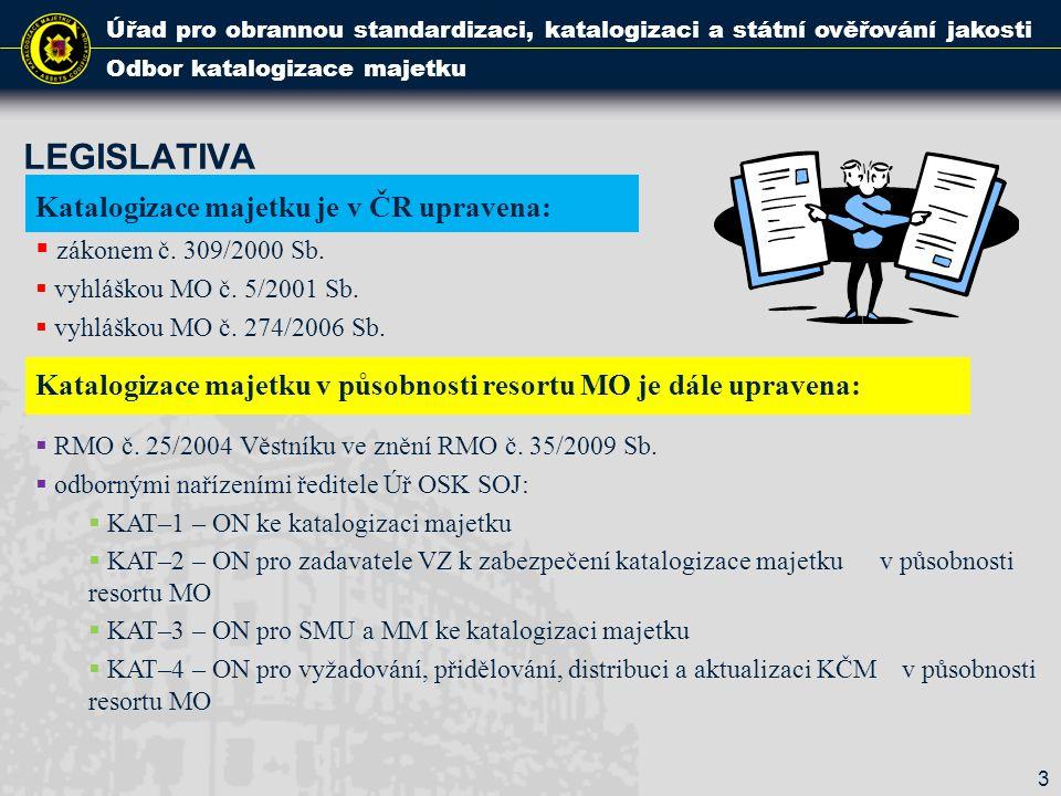 LEGISLATIVA Úřad pro obrannou standardizaci, katalogizaci a státní ověřování jakosti Odbor katalogizace majetku Katalogizace majetku je v ČR upravena:
