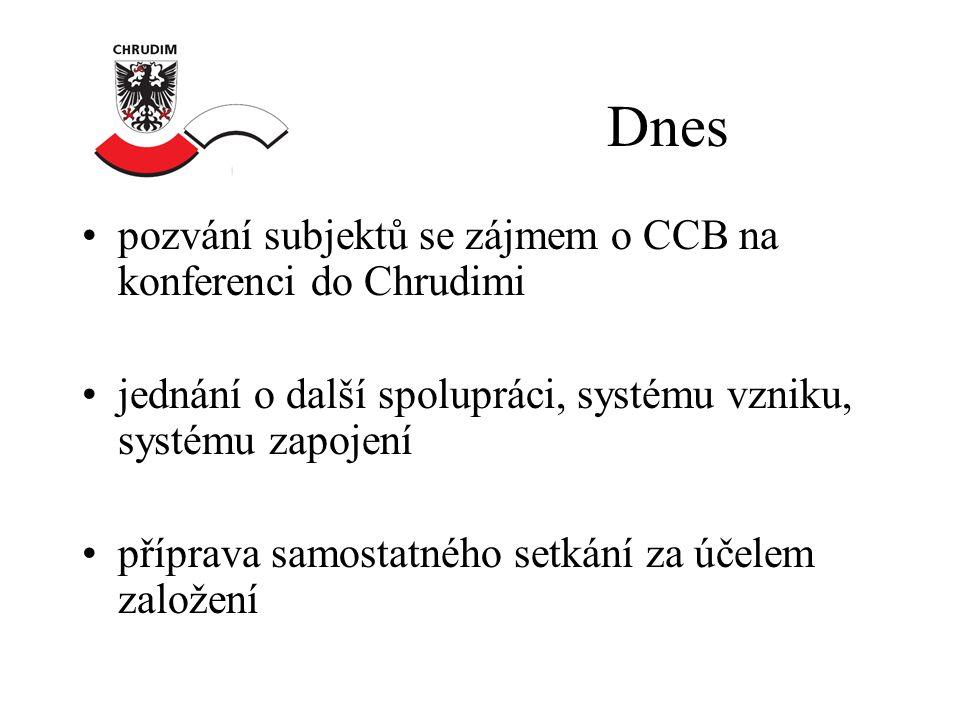 Dnes •pozvání subjektů se zájmem o CCB na konferenci do Chrudimi •jednání o další spolupráci, systému vzniku, systému zapojení •příprava samostatného setkání za účelem založení
